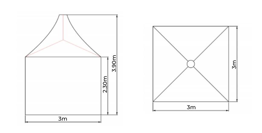 3x3pagoda suurus, telgi rent, telkide rent